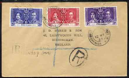 Grenada 1937 KG6 Coronation set of 3 on reg cover with first day cancel addressed to the forger, J D Harris.  Harris was imprisoned for 9 months after Robson Lowe exposed him for applying forged first day cancels to Coronation covers (details supplied).