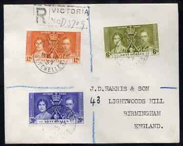 Seychelles 1937 KG6 Coronation set of 3 on reg cover with first day cancel addressed to the forger, J D Harris.  Harris was imprisoned for 9 months after Robson Lowe exposed him for applying forged first day cancels to Coronation covers (details supplied).