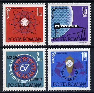 Rumania 1967 EXPO '67 World Fair set of 4 unmounted mint, SG 3531-34, Mi 2635-38