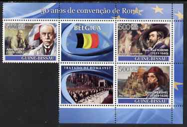 Guinea - Bissau 2008 Europa - 50 Years of Treaty of Rome - Belgium part sheetlet containing 3 values & 2 labels unmounted mint (note the original sheet consisted of 4 stamp but one had to be removed to avoid copyright violation)