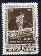 Russia 1953 125th Birth Anniversary of Tolstoi (writer) 1r blackish-brown fine cds used SG1808
