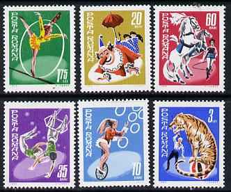 Rumania 1969 State Circus set of 6 unmounted mint, SG 3672-77, Mi 2790-95