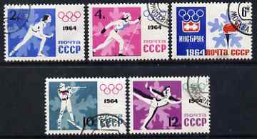 Russia 1964 Innsbruck Winter Olympic Games perf set of 5 fine cds used SG 2947b-51b