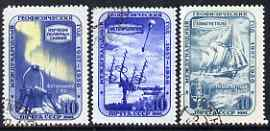 Russia 1958 International Geophysical Year perf ser of 3 fine cds used SG 2095a-c