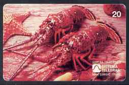 Telephone Card - Brazil 20 units phone card showing Lobsters