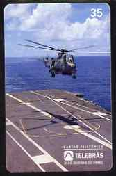 Telephone Card - Brazil 35 units phone card showing Helicopter landing on Aircraft Carrier