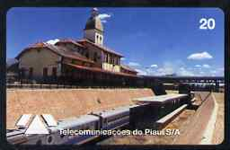 Telephone Card - Brazil 20 units phone card showing Teresina Railway Station