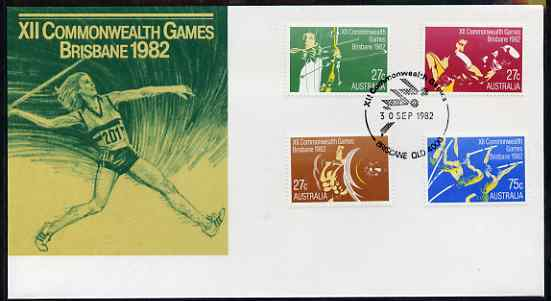 Australia 1982 Commonwealth Games perf set of 4 on illustrated cover with first day cancels