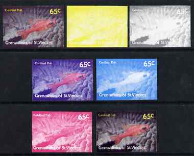 St Vincent - Grenadines 1987 Marine Life 65c Cardinal Fish - the set of 7 imperf progressive proofs comprising the 4 individual colours plus 2, 3 & all 4-colour composites, unmounted mint, as SG 544