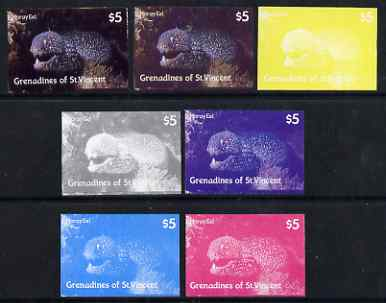 St Vincent - Grenadines 1987 Marine Life $5 Spotted Moray Eel - the set of 7 imperf progressive proofs comprising the 4 individual colours plus 2, 3 & all 4-colour composites, unmounted mint, as SG 545