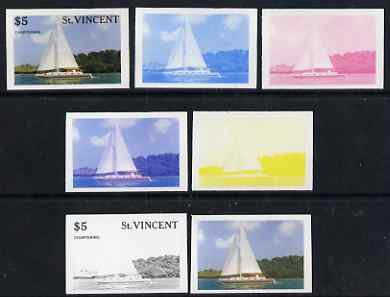 St Vincent 1988 Tourism $5 Cruising Yacht - the set of 7 imperf progressive proofs comprising the 4 individual colours plus 2, 3 & all 4-colour composites, unmounted mint, as SG 1136