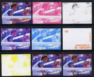 St Vincent - Grenadines 1988 International Tennis Players 15c Pam Shriver - the set of 9 imperf progressive proofs comprising the 5 individual colours plus 2, 3, 4 & all 5-colour composites, unmounted mint, as SG 582