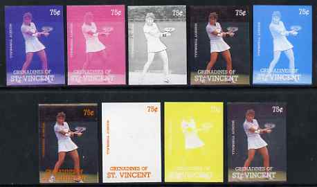 St Vincent - Grenadines 1988 International Tennis Players 75c Wendy Turnbull - the set of 9 imperf progressive proofs comprising the 5 individual colours plus 2, 3, 4 & all 5-colour composites, unmounted mint, as SG 584