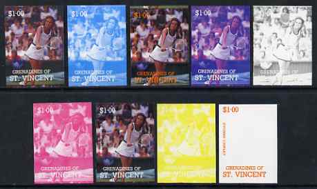 St Vincent - Grenadines 1988 International Tennis Players $1 Evonne Cawley - the set of 9 imperf progressive proofs comprising the 5 individual colours plus 2, 3, 4 & all 5-colour composites, unmounted mint, as SG 585