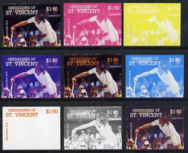 St Vincent - Grenadines 1988 International Tennis Players $1.50 Ilie Nastase - the set of 9 imperf progressive proofs comprising the 5 individual colours plus 2, 3, 4 & all 5-colour composites, unmounted mint, as SG 586