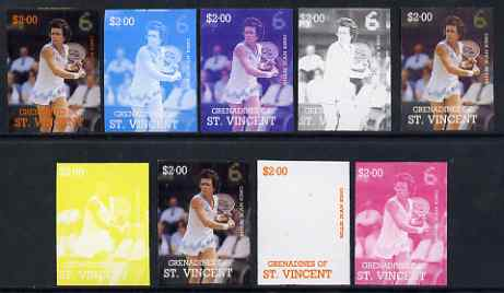 St Vincent - Grenadines 1988 International Tennis Players $2 Billie Jean King - the set of 9 imperf progressive proofs comprising the 5 individual colours plus 2, 3, 4 & all 5-colour composites, unmounted mint, as SG 587