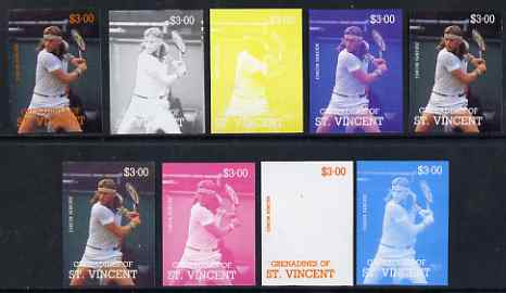 St Vincent - Grenadines 1988 International Tennis Players $3 Bjorn Borg - the set of 9 imperf progressive proofs comprising the 5 individual colours plus 2, 3, 4 & all 5-colour composites, unmounted mint, as SG 588