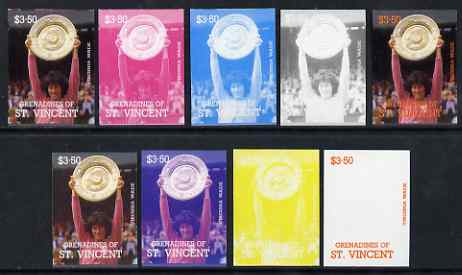 St Vincent - Grenadines 1988 International Tennis Players $3.50 Virginia Wade - the set of 9 imperf progressive proofs comprising the 5 individual colours plus 2, 3, 4 & all 5-colour composites, unmounted mint, as SG 589