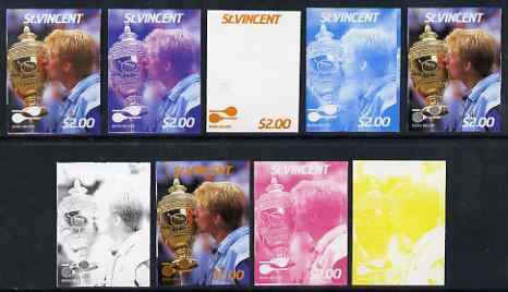 St Vincent 1987 International Tennis Players $2 Boris Becker - the set of 9 imperf progressive proofs comprising the 5 individual colours plus 2, 3, 4 & all 5-colour composites, unmounted mint, as SG 1064