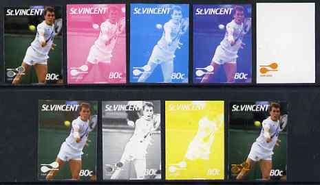 St Vincent 1987 International Tennis Players 80c Ivan Lendl - the set of 9 imperf progressive proofs comprising the 5 individual colours plus 2, 3, 4 & all 5-colour compo...