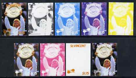 St Vincent 1987 International Tennis Players $1.75 Martina Navratilova - the set of 9 imperf progressive proofs comprising the 5 individual colours plus 2, 3, 4 & all 5-colour composites, unmounted mint, as SG 1063