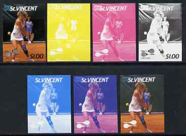 St Vincent 1987 International Tennis Players $1 Chris Evert - the set of 7 imperf progressive proofs comprising the 4 individual colours plus 2, 3 & all 4-colour composites, unmounted mint, as SG 1060