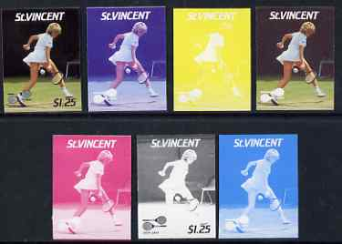 St Vincent 1987 International Tennis Players $1.25 Steffi Graf - the set of 7 imperf progressive proofs comprising the 4 individual colours plus 2, 3 & all 4-colour composites, unmounted mint, as SG 1061