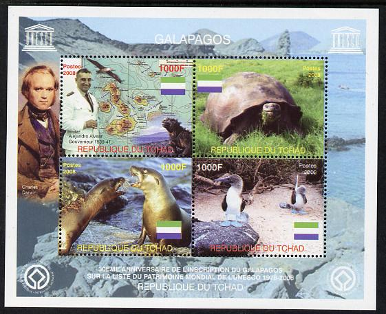 Chad 2008 Galapagos perf sheet containing 4 values, unmounted mint. Note this item is privately produced and is offered purely on its thematic appeal.