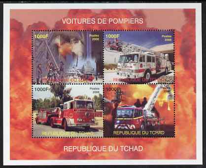 Chad 2008 Fire Engines perf sheet containing 4 values, unmounted mint. Note this item is privately produced and is offered purely on its thematic appeal