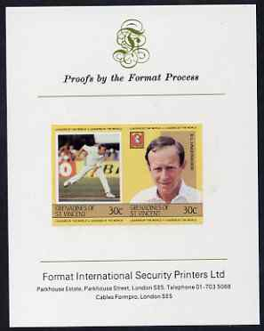 St Vincent - Grenadines 1984 Cricketers #1 D Underwood 30c se-tenant imperf pair mounted on Format International proof card (as SG 297a)