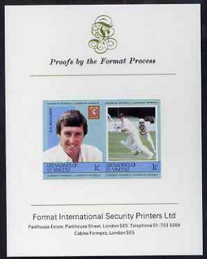 St Vincent - Grenadines 1984 Cricketers #1 R A Woolmer 1c se-tenant imperf pair mounted on Format International proof card (as SG 291a)