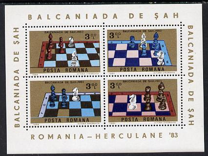 Rumania 1984 Chess m/sheet (containing 4 vals) unmounted mint Mi BL 201