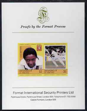 St Vincent - Grenadines 1984 Cricketers #1 E A Baptiste $1 se-tenant imperf pair mounted on Format International proof card (as SG 301a)