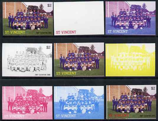 St Vincent 1987 English Football teams $2 Everton - the set of 9 imperf progressive proofs comprising the 5 individual colours plus 2, 3, 4 & all 5-colour composites, unmounted mint, as SG 1090