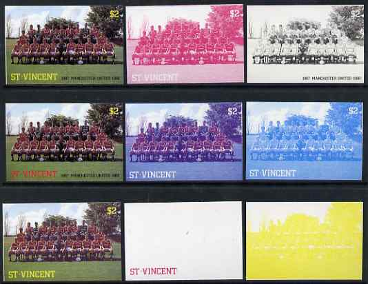 St Vincent 1987 English Football teams $2 Manchester United - the set of 9 imperf progressive proofs comprising the 5 individual colours plus 2, 3, 4 & all 5-colour composites, unmounted mint, as SG 1091