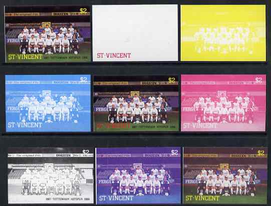St Vincent 1987 English Football teams $2 Tottenham Hotspur - the set of 9 imperf progressive proofs comprising the 5 individual colours plus 2, 3, 4 & all 5-colour composites, unmounted mint, as SG 1092