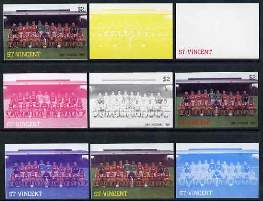 St Vincent 1987 English Football teams $2 Arsenal - the set of 9 imperf progressive proofs comprising the 5 individual colours plus 2, 3, 4 & all 5-colour composites, unmounted mint, as SG 1093