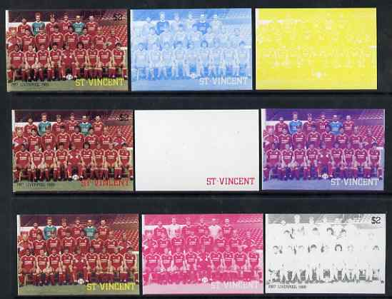 St Vincent 1987 English Football teams $2 Liverpool - the set of 9 imperf progressive proofs comprising the 5 individual colours plus 2, 3, 4 & all 5-colour composites, unmounted mint, as SG 1094