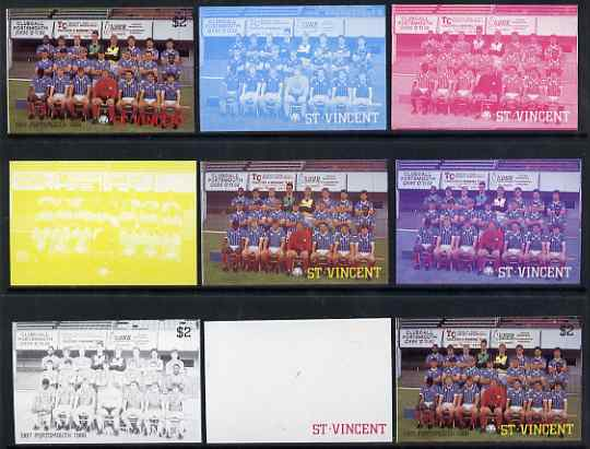 St Vincent 1987 English Football teams $2 Portsmouth - the set of 9 imperf progressive proofs comprising the 5 individual colours plus 2, 3, 4 & all 5-colour composites, unmounted mint, as SG 1096