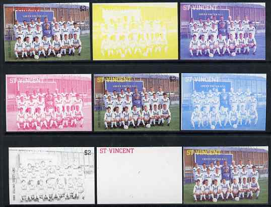 St Vincent 1987 English Football teams $2 Leeds United - the set of 9 imperf progressive proofs comprising the 5 individual colours plus 2, 3, 4 & all 5-colour composites, unmounted mint, as SG 1097