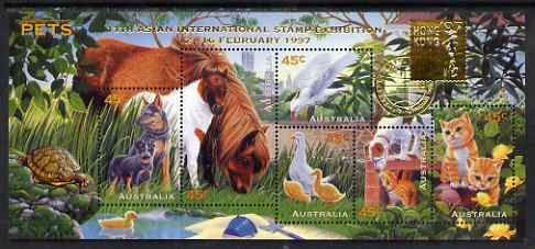 Australia 1997 Pets m/sheet opt'd for 11th Asian International Stamp Exhibition Hong Kong, SG MS 1651var unmounted mint