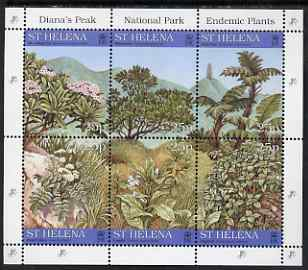 St Helena 1997 Endemic Plants from Diana's Peak National Park composite sheetlet of 6 unmounted mint, SG 734a