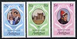 Antigua 1981 Royal Wedding set of 3 unmounted mint, SG702-04, stamps on royalty, stamps on diana