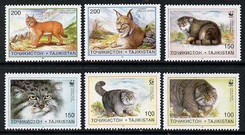 Tadjikistan 1996 WWF - Cats complete set of 6 values