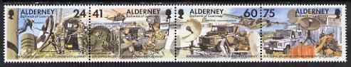 Guernsey - Alderney 1996 25th Anniversary of Adoption of 30th Signal Regiment se-tenant strip of 4 unmounted mint, SG A85a