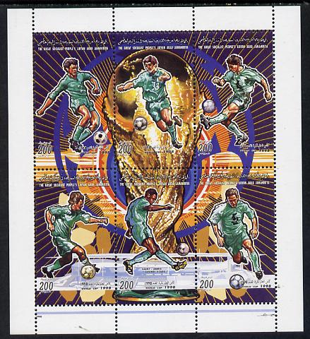 Libya 1998 Football World Cup sheetlet containing complete set of 6 values unmounted mint, stamps on football