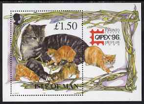 Isle of Man 1996 Manx Cats mini sheet inscribed 'Capex 96' exhibition logo unmounted mint, SG MS712