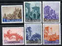 San Marino 1966 New Value definitive set of 6 (5 Lire to 140 Lire) unmounted mint, SG 794-99