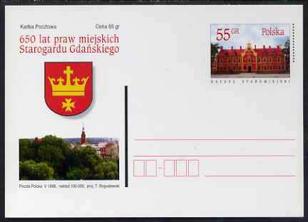 Poland 1998 55gr Postal Stationery Card for 650 years of Urban Gardens unused and pristine