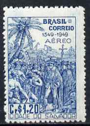 Brazil 1949 De Souza meeting Indians 1cr20 from Founding of Bahia set of 2, unmounted mint but few gum wrinkles, SG 787